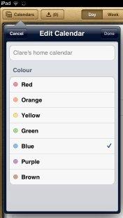 iPad calendar colour-selection dialog