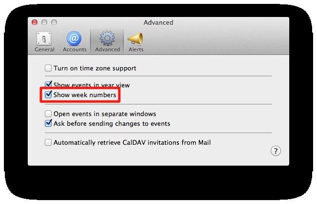 Week numbers in Calendar.app