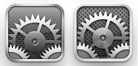 Image of both the old and the new settings icons