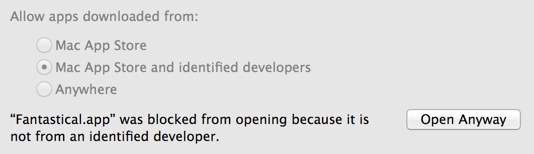 """""""Fantastical.app"""" was blocked from opening because it is not from an identified developer. 'Open Anyway'"""
